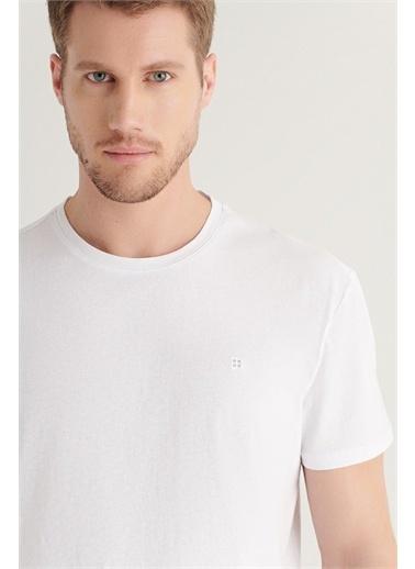 Avva Erkek Bisiklet Yaka Düz Long Fit T-Shirt A11Y1180 Beyaz